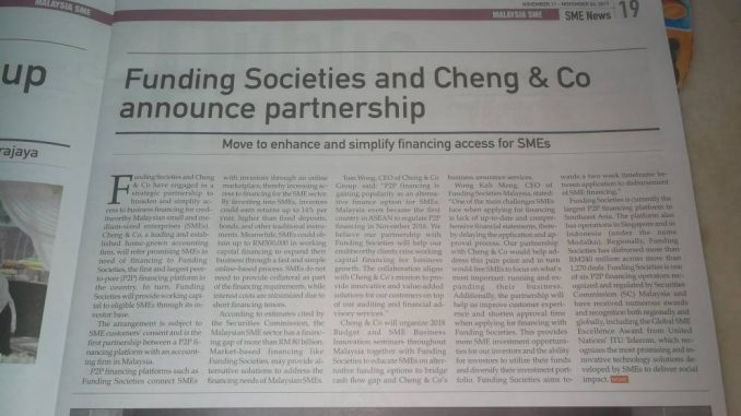 SME Malaysia coverage on partnership between Funding Societies and Cheng & Co ( P2P lending )