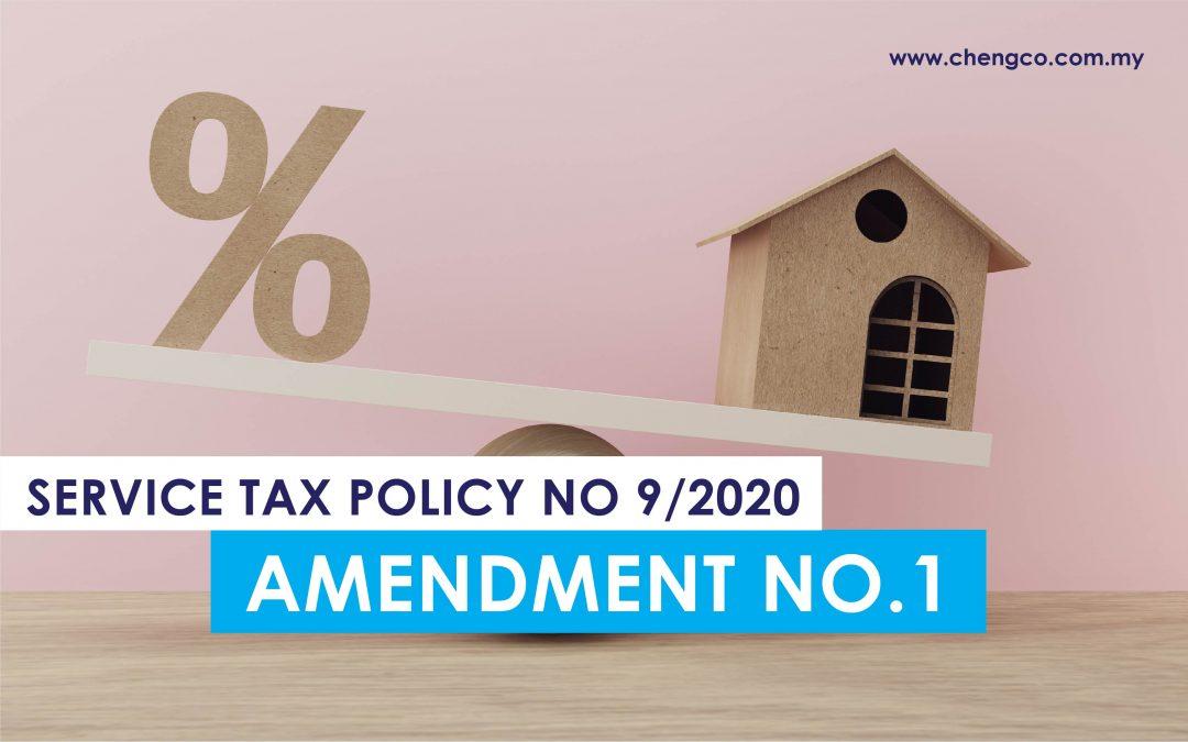 SST Update – Service Tax Policy No 9/2020 (Amendment No.1)