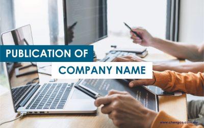 Publication of Company Name